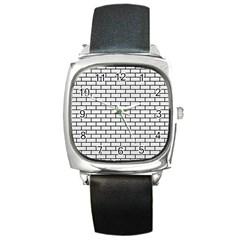 Brick1 Black Marble & White Linen Square Metal Watch