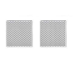 Brick1 Black Marble & White Linen Cufflinks (square)