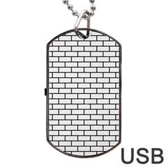 Brick1 Black Marble & White Linen Dog Tag Usb Flash (one Side)