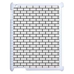 Brick1 Black Marble & White Linen Apple Ipad 2 Case (white)