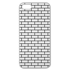 Brick1 Black Marble & White Linen Apple Seamless Iphone 5 Case (clear)