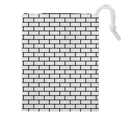 Brick1 Black Marble & White Linen Drawstring Pouches (xxl)