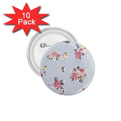 Floral Blue 1 75  Buttons (10 Pack)
