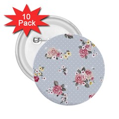 Floral Blue 2 25  Buttons (10 Pack)