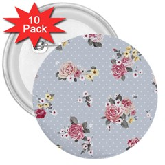 Floral Blue 3  Buttons (10 Pack)
