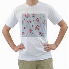 Floral Blue Men s T Shirt (white) (two Sided)