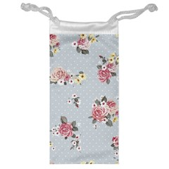 Floral Blue Jewelry Bag