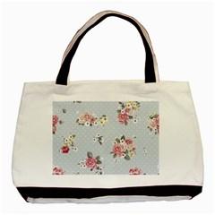 Floral Blue Basic Tote Bag