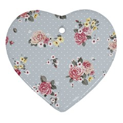 Floral Blue Heart Ornament (two Sides)
