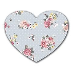 Floral Blue Heart Mousepads