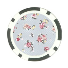 Floral Blue Poker Chip Card Guard