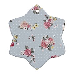 Floral Blue Snowflake Ornament (two Sides)