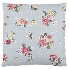 Floral Blue Large Cushion Case (two Sides)