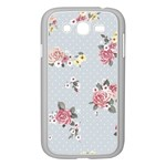 floral blue Samsung Galaxy Grand DUOS I9082 Case (White) Front
