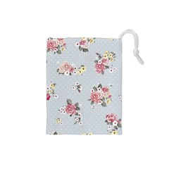 Floral Blue Drawstring Pouches (small)