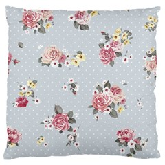 Floral Blue Standard Flano Cushion Case (two Sides)