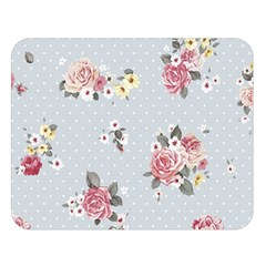 Floral Blue Double Sided Flano Blanket (large)