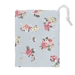 Floral Blue Drawstring Pouches (extra Large)