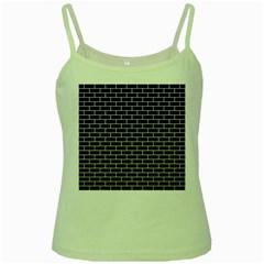 Brick1 Black Marble & White Linen (r) Green Spaghetti Tank