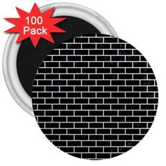 Brick1 Black Marble & White Linen (r) 3  Magnets (100 Pack)