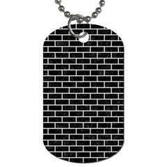 Brick1 Black Marble & White Linen (r) Dog Tag (one Side)