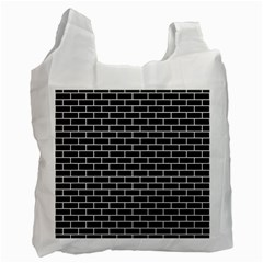 Brick1 Black Marble & White Linen (r) Recycle Bag (one Side)