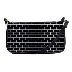 Brick1 Black Marble & White Linen (r) Shoulder Clutch Bags