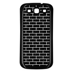 Brick1 Black Marble & White Linen (r) Samsung Galaxy S3 Back Case (black)