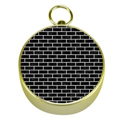 Brick1 Black Marble & White Linen (r) Gold Compasses
