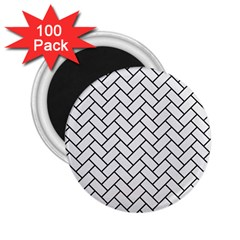 Brick2 Black Marble & White Linen 2 25  Magnets (100 Pack)