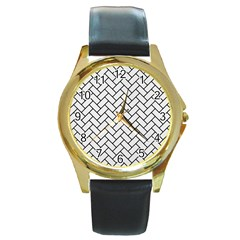 Brick2 Black Marble & White Linen Round Gold Metal Watch