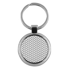 Brick2 Black Marble & White Linen Key Chains (round)