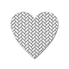 Brick2 Black Marble & White Linen Heart Magnet