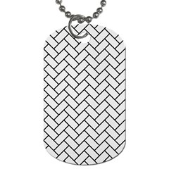 Brick2 Black Marble & White Linen Dog Tag (two Sides)