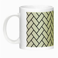 Brick2 Black Marble & White Linen Night Luminous Mugs