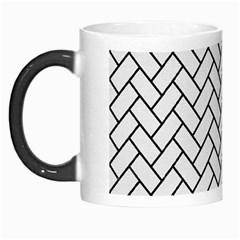 Brick2 Black Marble & White Linen Morph Mugs
