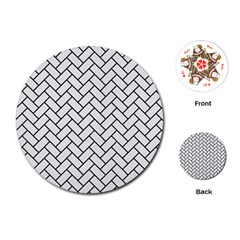 Brick2 Black Marble & White Linen Playing Cards (round)