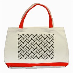 Brick2 Black Marble & White Linen Classic Tote Bag (red)