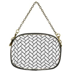 Brick2 Black Marble & White Linen Chain Purses (two Sides)