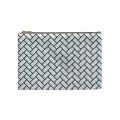 Brick2 Black Marble & White Linen Cosmetic Bag (medium)