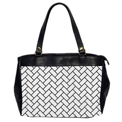 Brick2 Black Marble & White Linen Office Handbags (2 Sides)