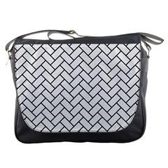 Brick2 Black Marble & White Linen Messenger Bags
