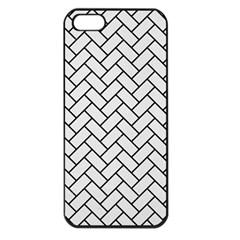 Brick2 Black Marble & White Linen Apple Iphone 5 Seamless Case (black)