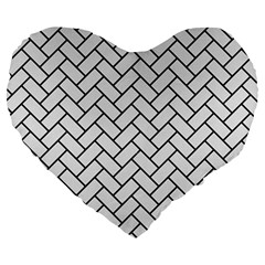 Brick2 Black Marble & White Linen Large 19  Premium Heart Shape Cushions