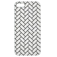 Brick2 Black Marble & White Linen Apple Iphone 5 Hardshell Case With Stand
