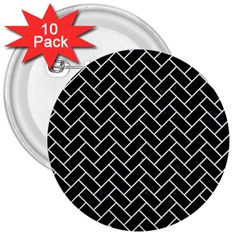 Brick2 Black Marble & White Linen (r) 3  Buttons (10 Pack)