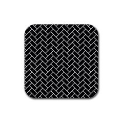Brick2 Black Marble & White Linen (r) Rubber Square Coaster (4 Pack)