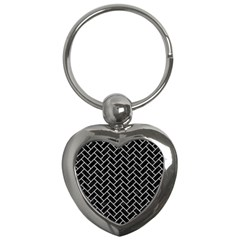 Brick2 Black Marble & White Linen (r) Key Chains (heart)