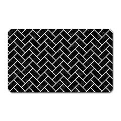 Brick2 Black Marble & White Linen (r) Magnet (rectangular)