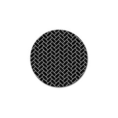Brick2 Black Marble & White Linen (r) Golf Ball Marker (4 Pack)